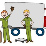 Two movers in front of a moving truck illustrated